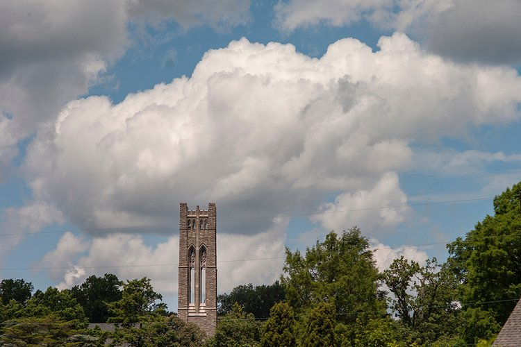 Belltower protruding into horizon of blue sky with white clouds, surrounded by trees