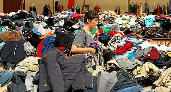 A woman shops at the annual rummage sale