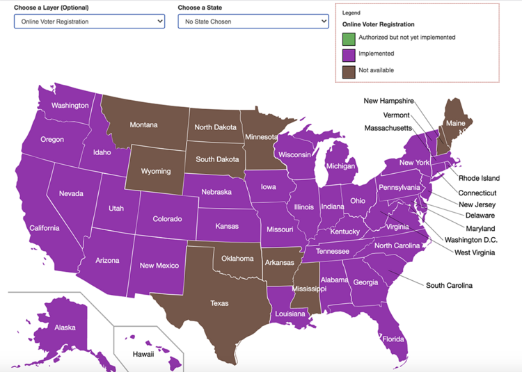 Map of America with purple and brown coloring to indicate state policies regarding online voter registration