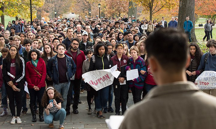 Students rally on Magill Walk