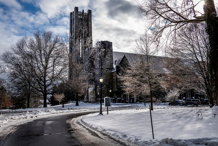 Clothier Hall in background with snow