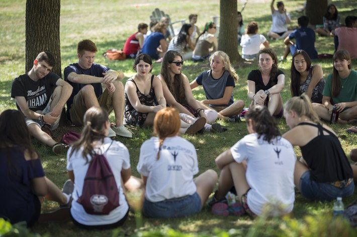 Students gather during new student orientation