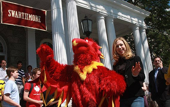 Phineas the Phoenix with Chelsea Clinton