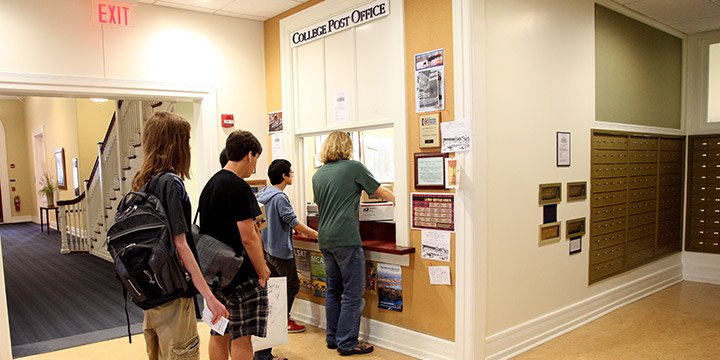 Students at the Swarthmore College Post Office
