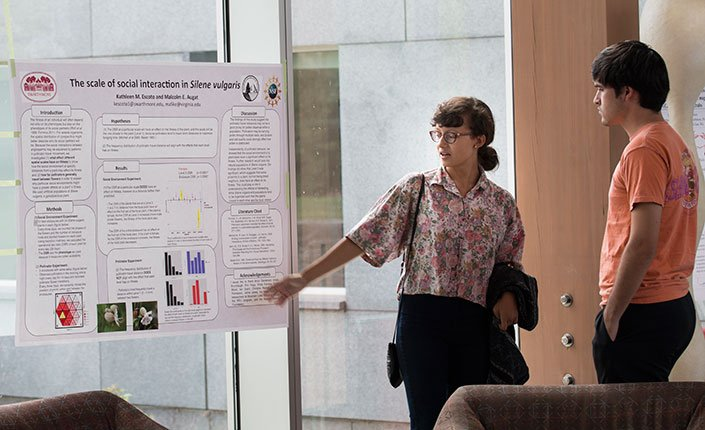 A student presents her research