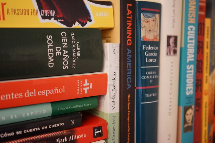 Spanish Novels on shelf.