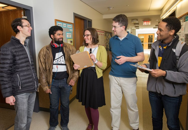 Statistics students Sasha Rojavin '15, Julian Randall '15 and Xavier Lee '17, with Kelly McConville, Assistant Professor of Statistics and Scott Cook, Visiting Professor of Mathematics and Statistics.