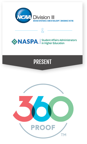 Picture of the 360Proof Logo that notes NCAA DIvision III and NASPA as the developers