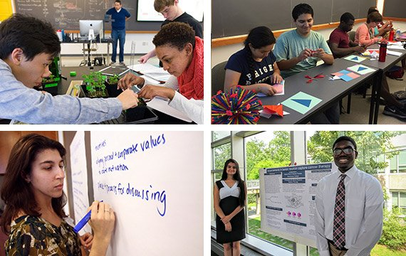Collage of students working in classrooms and labs