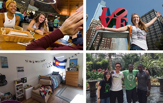 Collage of students in the dining hall, on campus, and in Philadelphia