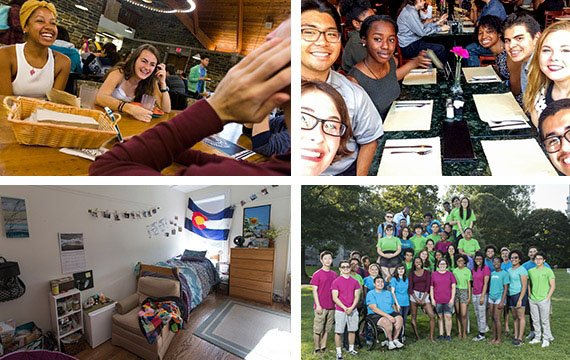 Collage of students in the dining hall and on campus.