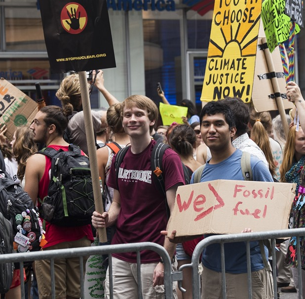 Swarthmore students attend the 2014 People's Climate March in NYC.
