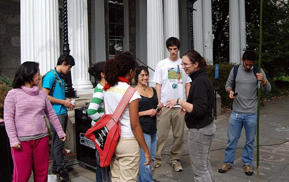 Students conversing in front of Parrish Hall