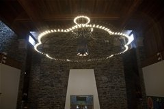 LED bulbs in grand chandelier
