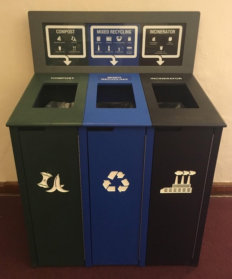 Waste station with compost, recycling, and trash bins side by side
