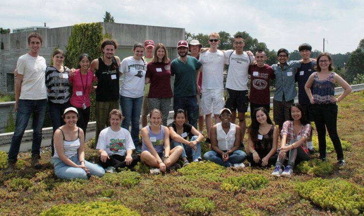 GAs pose on top of one of Swarthmore's green roofs.