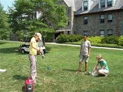 Installation of water samplers in Mertz Organic Lawn
