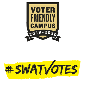 Voter Friendly Campus 2019-2020 Badge above SwatVotes logo