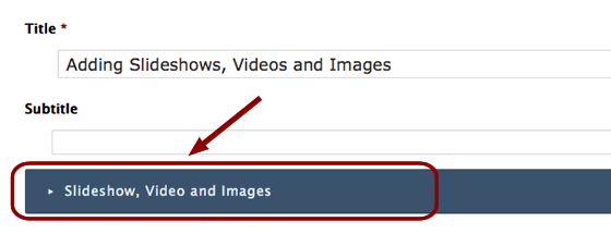 the dark blue bar expands and contracts to reveal options to add slideshows, videos and image
