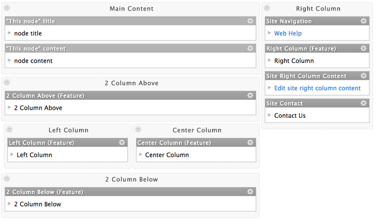Arrange Panes shows the different areas where content can be added to a page