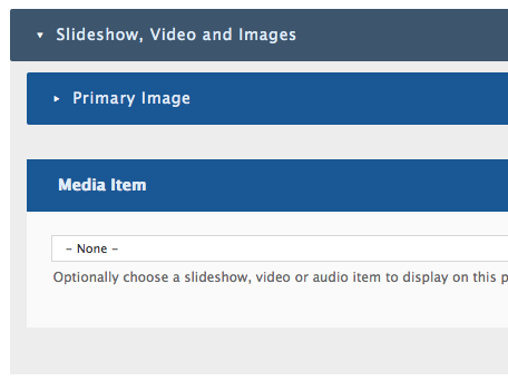 Once expanded, the dark blue bar provides options to add a Primary Image or an existing Media Item