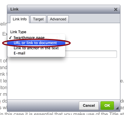 Choose URL or link to Document from dropdown, then enter the URL in the field next to http://