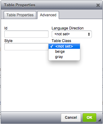 the advanced tab of the table dialogue allows you to add predefined table classes