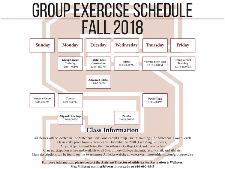 Schedule of Swarthmore Athletics Fall Group Exercise Classes