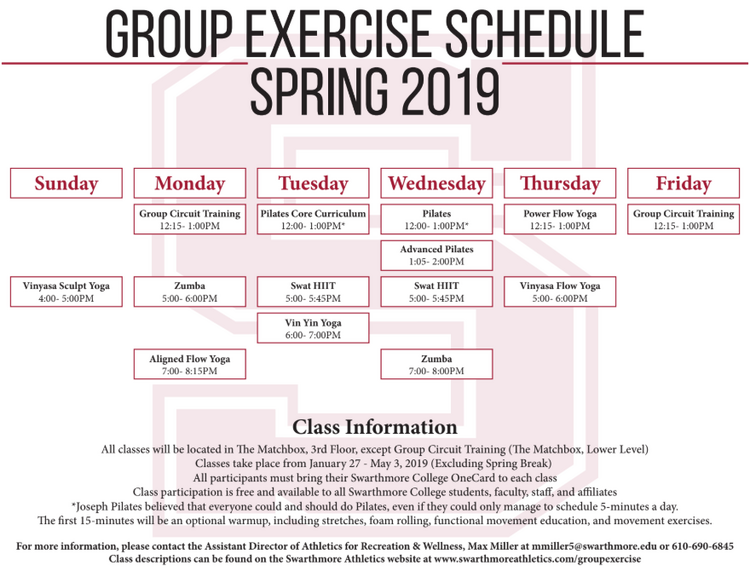Spring 2019 Group Exercise Schedule