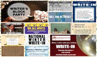 Some posters from various colleges and universities that participated in the Winter 2014 National Write-In.