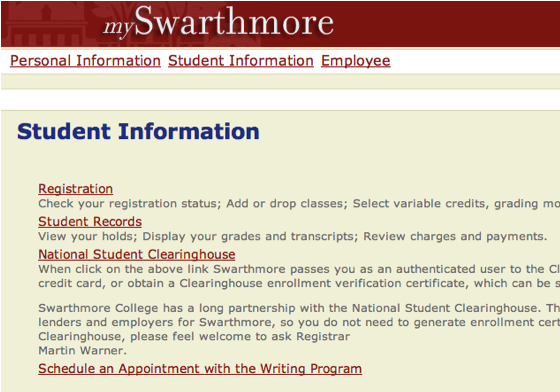 Schedule a Writing Center conference through MySwarthmore
