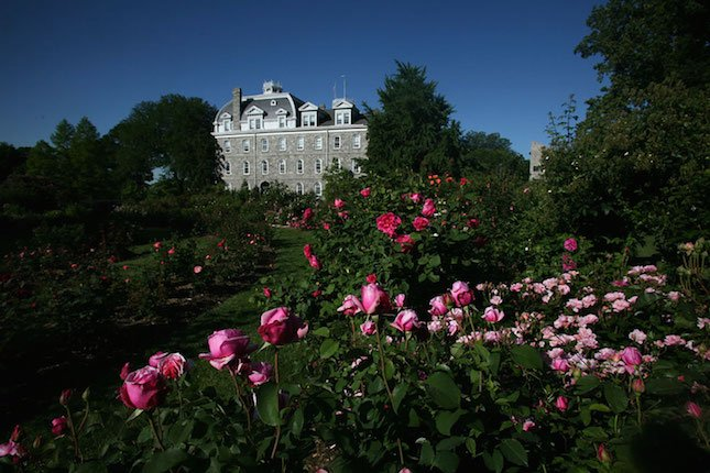 Image of Bond Rose Garden with Parrish Hall in the background