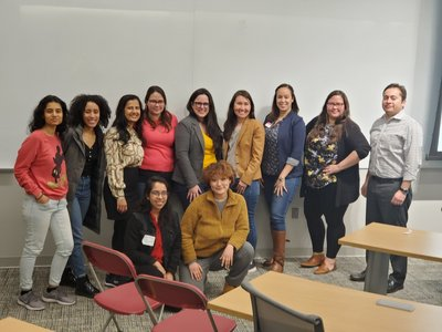 Alumni of Color students and volunteers gather on campus in February 2020.