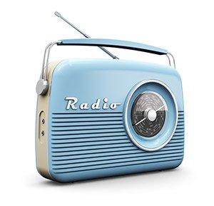 A blue vintage radio