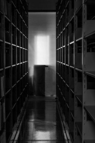 Empt metal bookshelves in library.