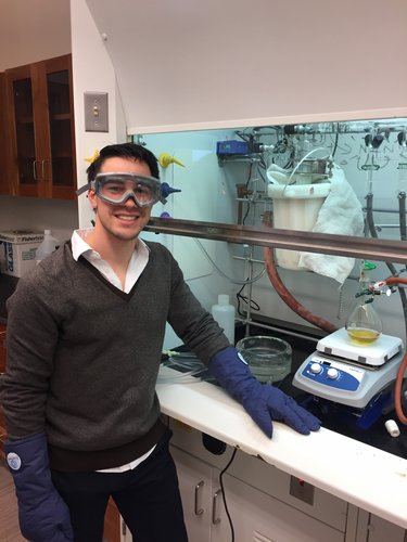 Group member Jacob Kirsh at the fume hood