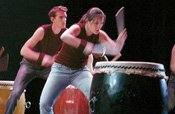student taiko drummers