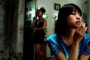 Two women smoking