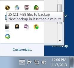 Crashplan Windows Taskbar
