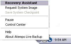 Live Backup Taskbar