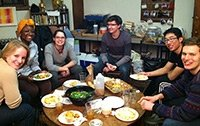 Students share food at the Interfaith Center