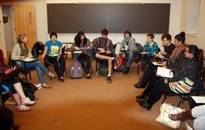Students participating in a student-led course on ethnic studies in fall 2012.