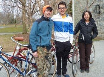 Members of the Swarthmore bike share program.