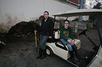Students and compost pile