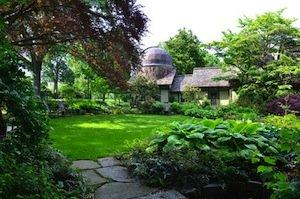 A courtyard at the Scott Arboretum.