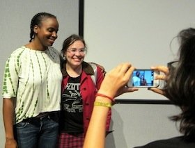 Writer/Director Dee Rees meets with students.