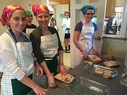Students help prepare the meal