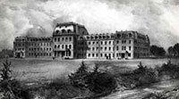 Black and white sketch of Parrish Hall