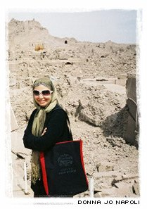 Donna Jo Napoli, with traditional scarf over her head, in Iran,