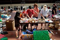 People search through items at the Trash to Treasure sale